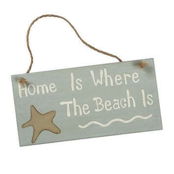 """Seaside """"Home Is Where The Beach Is"""" - Door Wall Hanging Cottage Wood Sign with Starfish"""