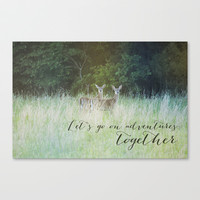 A deer adventure Stretched Canvas by Allyson Johnson