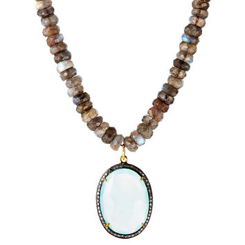Pavé Diamonds & Chalcedony Pendant, Pendant Necklaces