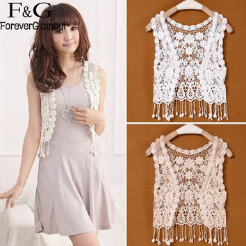 Sweet Women Crochet Capelet Hollow out Shawl Scarf Lace Vest Cape Tops Shawl Hollow capes Women Summer Waistcoat Clothing 41