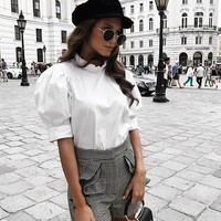 White Buttons Ruffle Band Collar Elbow Sleeve Casual Blouse