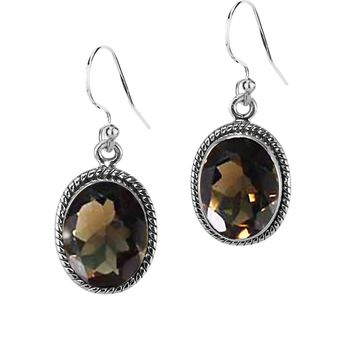 3.00 Ct Oval Natural Smoky Quartz Sterling Silver Statement Earrings