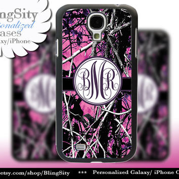 Camo Dark Purple Monogram Galaxy S4 case S5 RealTree Muddy Camo Personalized Samsung Galaxy S3 Case Note 2 3 Cover Country Girl