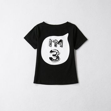 Baby Child T-shirt Tops For Kids Girls Boys Summer Clothes Black White Shirts First Birthday Party Outfit Children T-shirts Tees