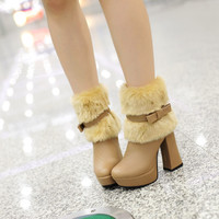 Fashion Women Ankle Boots for Autumn and Winter New Arrival Bow Fur 9779