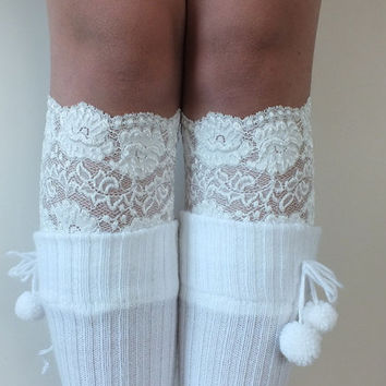 Lace Boot Cuff // Boot Socks İvory Boot Topper, free ship Leg Toppers Socks Free ship, Leg Warmer Women's Shoe Accessories