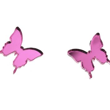 Butterfly Earrings in Mirror Pink