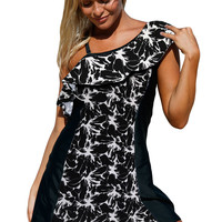 Monochrome Panel Accent 1 Piece Swim Dress with Shorts