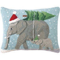 Peking Handicraft Christmas Elephants Hook Wool Throw Pillow