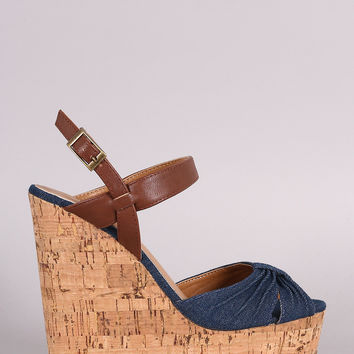 Bamboo Denim Gathered Peep Toe Cork Wedge