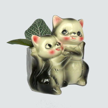 Vintage Cat and Kitten Planter Succulent Pot Kitchen Herb Garden Mid Century Cat Decor Gray Pink Kitty Planter Catch All Vase