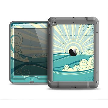 The Retro Vintage Vector Waves Apple iPad Air LifeProof Nuud Case Skin Set
