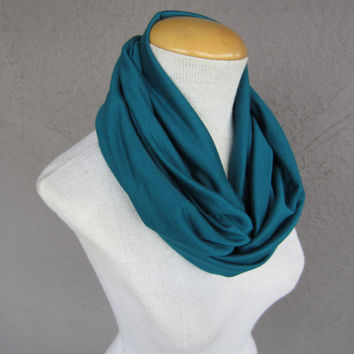 Teal Infinity Scarf - Jersey Circle Scarf - Teal Fashion Cowl - Infinity Cowl