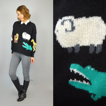 vtg 1980s ANIMAL elephant giraffe sheep lion ostrich cropped NOVELTY SWEATER, extra small-large