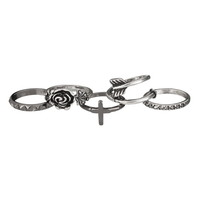 Arrow And Cross Ring Set - Mixed Metal