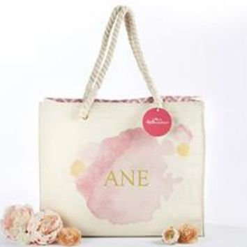Watercolor Tote Bag With Rope Handles - Personalization Available