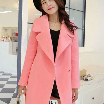 A Line Thick Woolen Loose Collared Coat