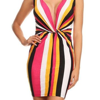 Vibrant Striped Mini Dress