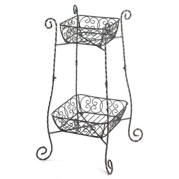 Large Plant Stand, Two Tier Wrought Iron Black House Plant Stand