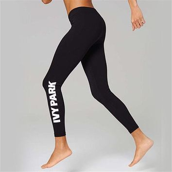 """Ivy Park"" Fashion Casual Simple Stretch Breathable Letter Print Yoga Leggings Long Sweatpants"