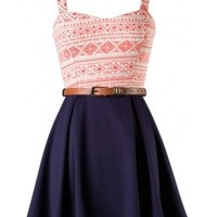 The Peach Belted Skater Dress