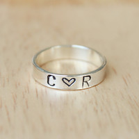 Personalized ring, Personalized silver ring, Custom ring, Custom silver ring, Engraved ring, Initials ring, Stamped ring Secret message ring