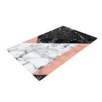 "KESS Original ""Geo Marble and Coral"" Black Art Deco Woven Area Rug"