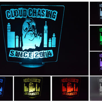 Cloud Chasing Sign, Personalized Vape Sign, Vape Light, Vape Lamp, Light Up Sign, Gas Mask, Vaping, Cloud Chasing Light, LED Lamp, LED Light