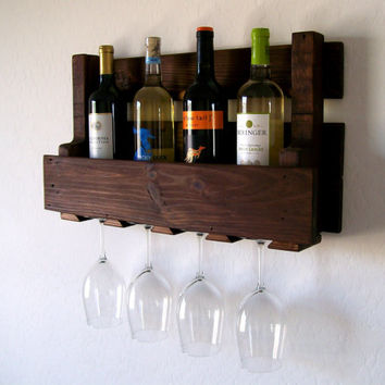 Reclaimed Wood Wine Rack - Pallet Wood Wine Rack - Dark Walnut, Brown or Natural (no color) Wine Shelf Eco Friendly