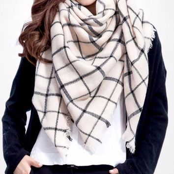 Women Winter Plaid Square Knitted Scarf Female Warm Shawls Cotton Scarves