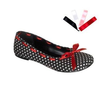 Pleaser Female Mary Jane Flat Shoe, Eyelet Upper With 4 Sets Of Lacing DAI20