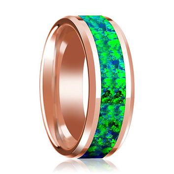 Men's Beveled 14k Rose Gold Wedding Band with Green & Blue Opal Inlay Polished Finish - 8MM