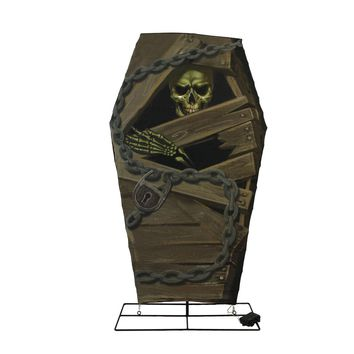 """48"""" Battery Operated LED Lighted Skeleton in Coffin with Timer Halloween Yard Art Decoration"""