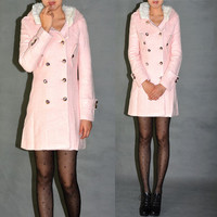 High Quality Pink Wool Coat Winter Woolen Pea Coats Jacket Elegant Overcoat Women's Clothing WJ106