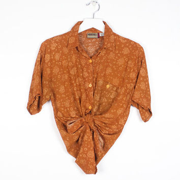 Vintage 90s Blouse Boho Orange Gold Brown Eye Floral Paisley Print 1990s Shirt Boyfriend Shirt Draped Bohemian Soft Grunge Top M Medium L
