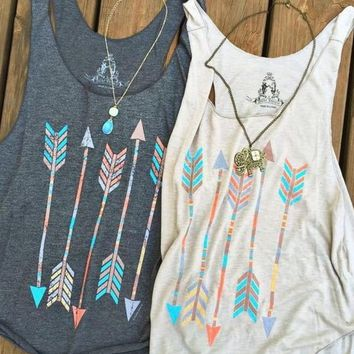 Ms. fashion casual retro print arrows color cotton vest sleeveless T-shirt