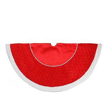 "48"" Quilted Red Velvet Christmas Tree Skirt with White Cord and Faux Fur Border"