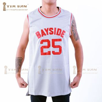 TIM VAN STEENBERGEB The Bell Zack Morris 25 Bayside Tigers Basketball Jersey All Sewn-Gray