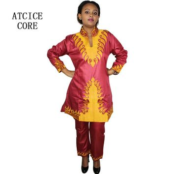 Free shipping new african bazin embroidery design dresses top with pants african clothes DP115#