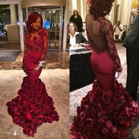 Long Sleeve Burgundy Prom Dresses 2016 Mermaid Designer Hand Made Flower Plus Size Formal Evening Dress For Celebrity Gala Gown
