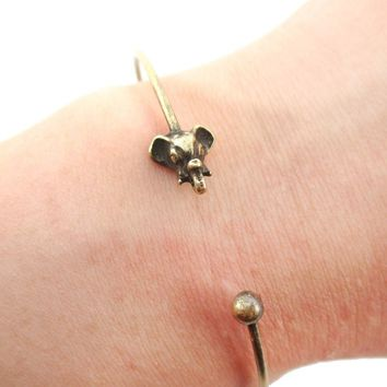 Minimal Bangle Bracelet Cuff with Elephant Charm in Brass | Animal Jewelry