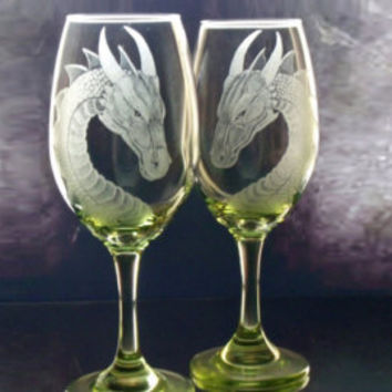 Dragon wine glass set of two - fantasy glassware - custom barware host hostess gift ideas