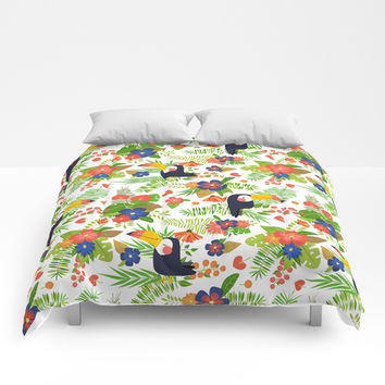 Toucans & Tropical Flowers Comforters by anertek