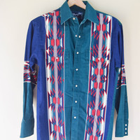 Vintage Cotton Western Wrangler Shirt Snap Buttons Aztec Mens Womens