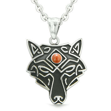 Celtic Wolf All Seeing Third Wisdom Eye Magic Protection Amulet Red Jasper Pendant 18 inch Necklace