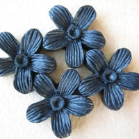 4PCS - Hibiscus Flower Cabochons - 15mm - Resin - Black - Cabochons by ZARDENIA