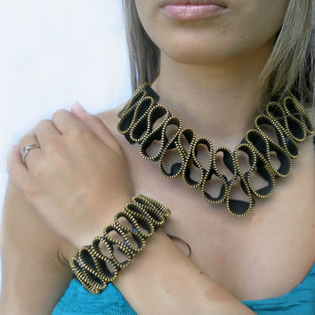 zipper necklace and bracelet - vintage zippers - metal chain gold tone,eco friendly, recycled jewelry