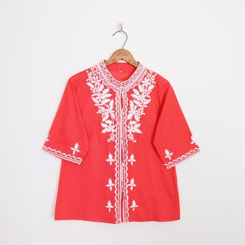 embroider tunic, red embroider top, embroider blouse, embroider shirt, asian embroider india embroider mexican embroider 70s hippie top m l