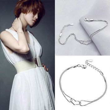 Style Female Favourite Beautiful Heart Shaped Silver Plated Woman Bracelets Jewelery Accessories