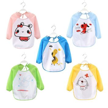 Baby Bibs Newborn Cartoon Animal Printed Apron Long Sleeve Art Smock Apron Waterproof Feeding Toddlers Bibs Eat Clothing